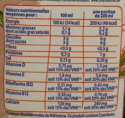 Boisson amande calcium - Informations nutritionnelles - fr