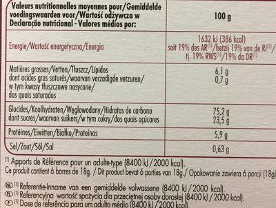 Chabrior 6 barres cereales - Voedingswaarden - fr