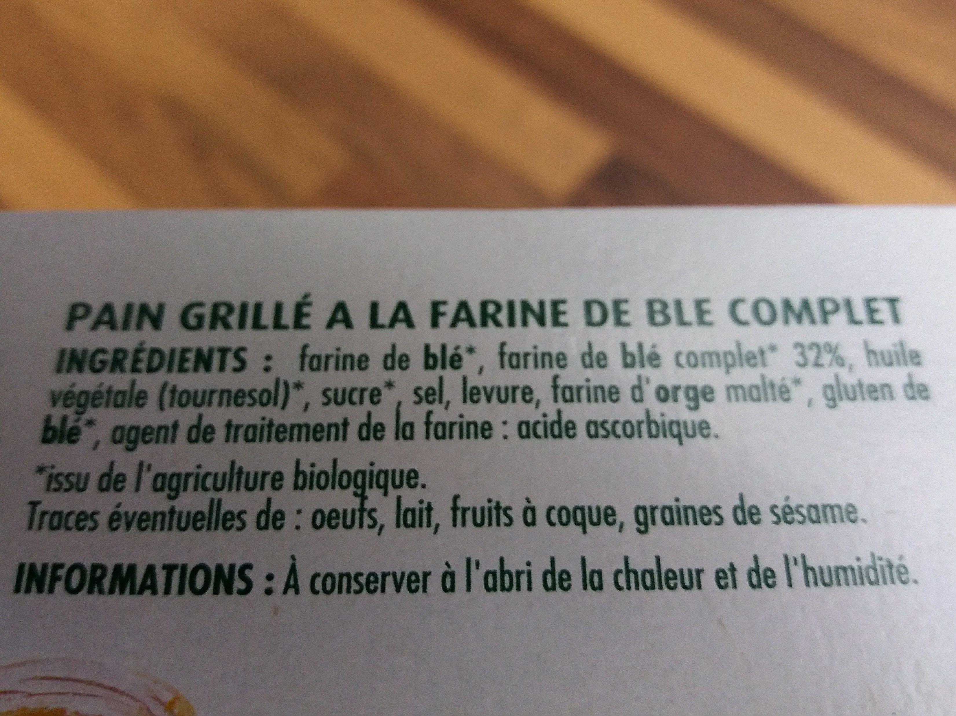 Pain grillé au blé complet - Ingredients - fr
