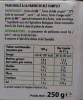 Pain grillé au blé complet - Nutrition facts - fr