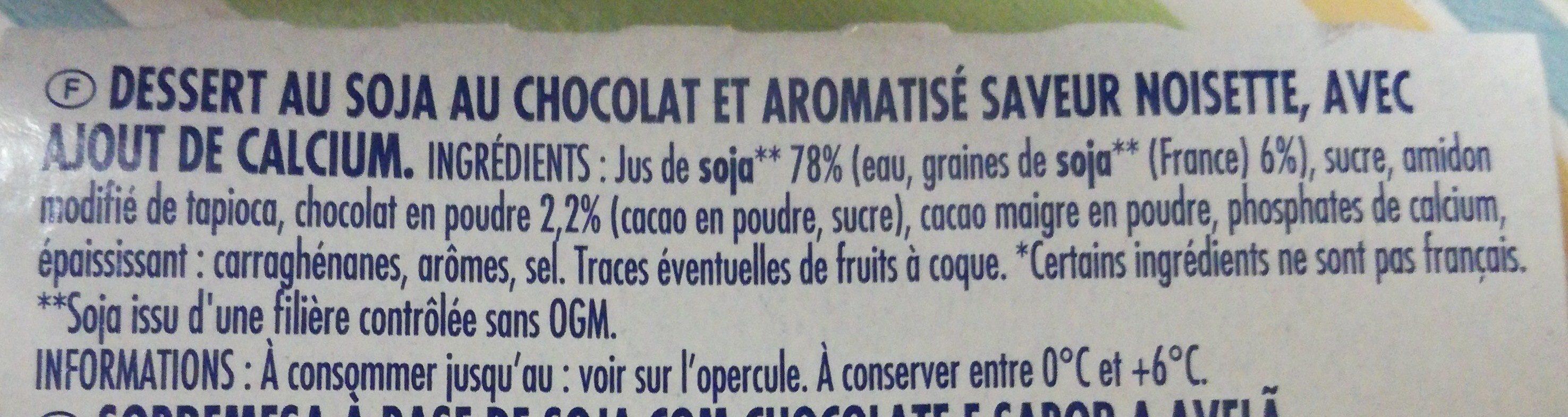 Soja Chocolat saveur noisette - Ingrédients - fr