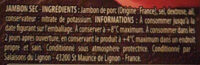Quart de jambon sec - Ingrédients - fr