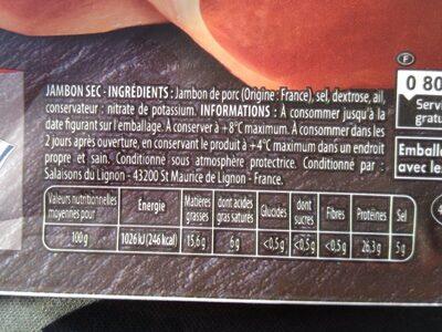 Quart de jambon sec - Informations nutritionnelles - fr