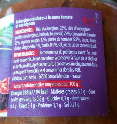 Aubergines cuisinées - Ingrédients
