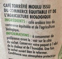 Café bio doux - Ingrediënten