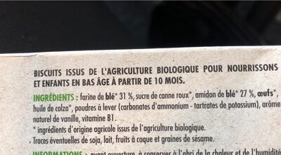 Pommette Bio Mon 1er biscuit - Ingredients - fr