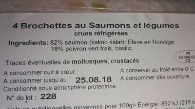 Brochette de saumon et legume - Ingrédients
