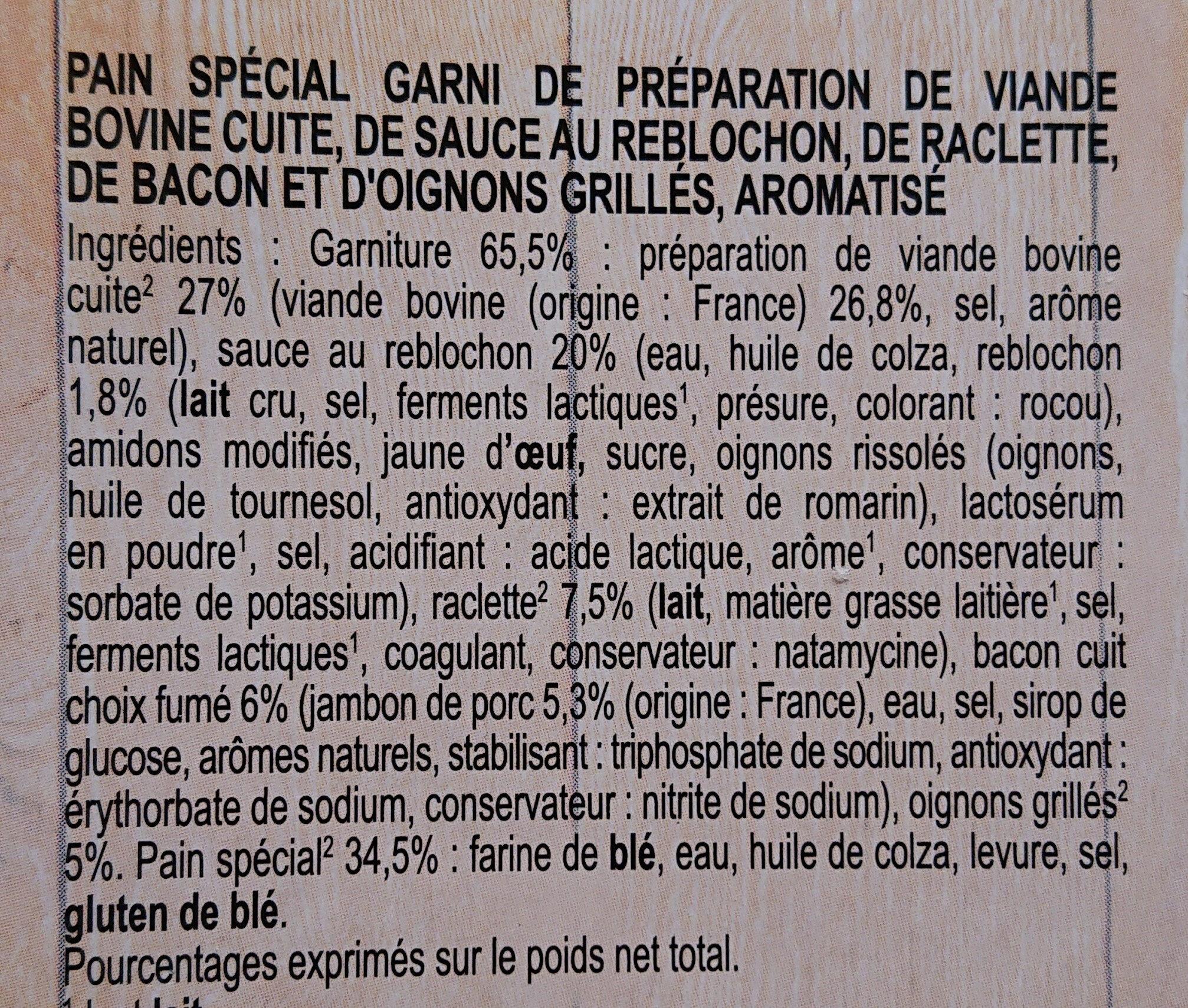 Le burger raclette - Ingrédients - fr