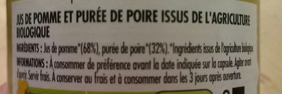 100% pur jus de pomme et de poire - Ingrédients - fr