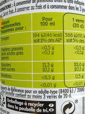 Jus pomme poire bio Paquito - Informations nutritionnelles
