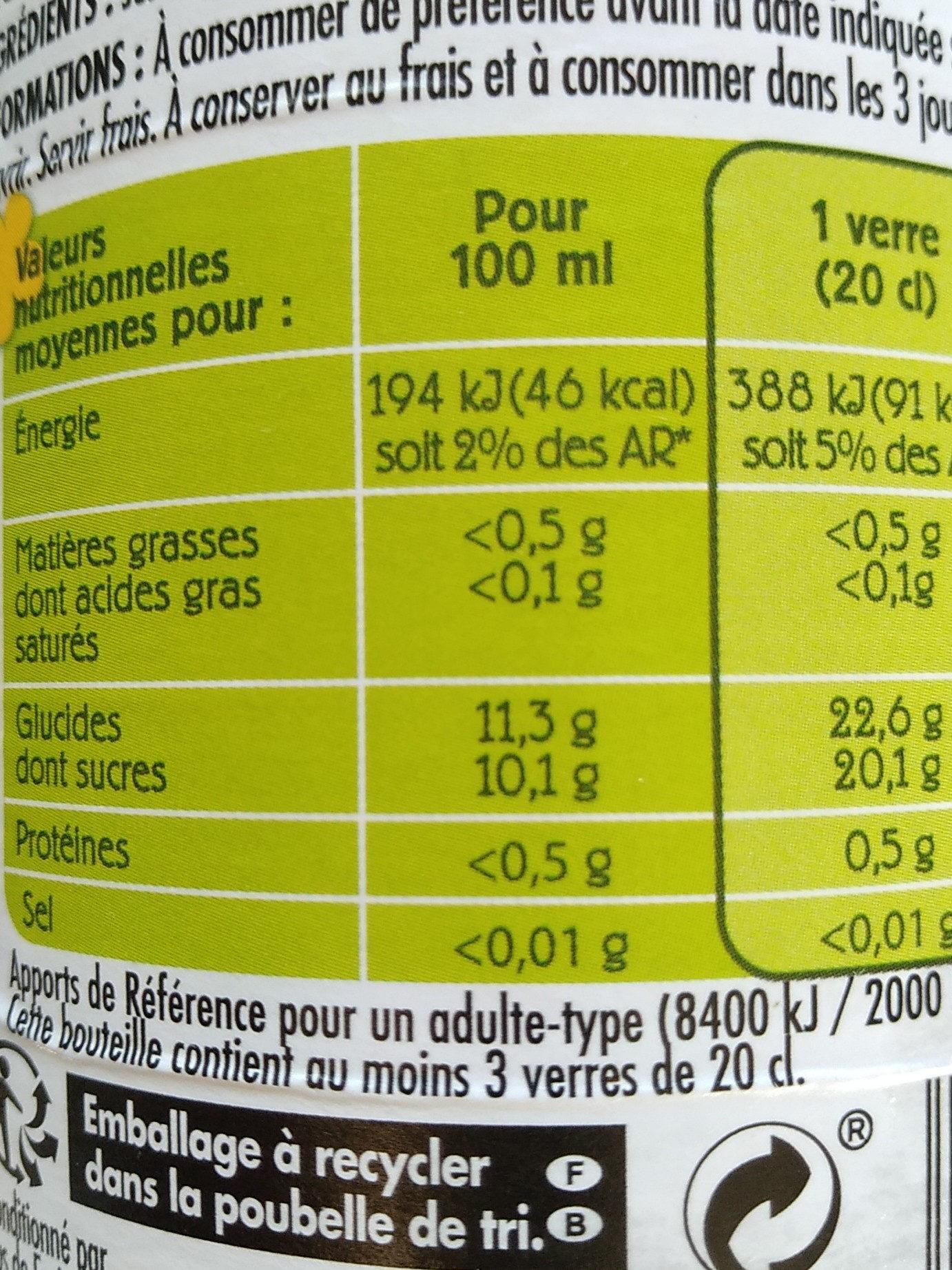 100% pur jus de pomme et de poire - Informations nutritionnelles - fr