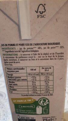 Jus de pomme poire bio - Valori nutrizionali - fr