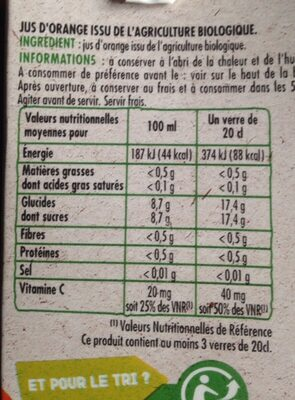 100% pur jus d'orange BIO - Valori nutrizionali - fr
