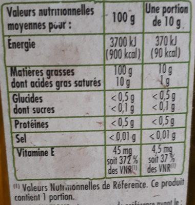 4 huiles vierges végétales - Voedingswaarden