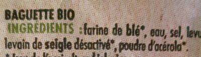 Baguette bio La Campagnière - Ingredienti - fr