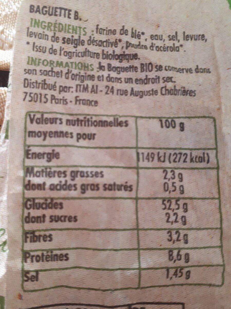 Baguette bio La Campagnière - Valori nutrizionali - fr
