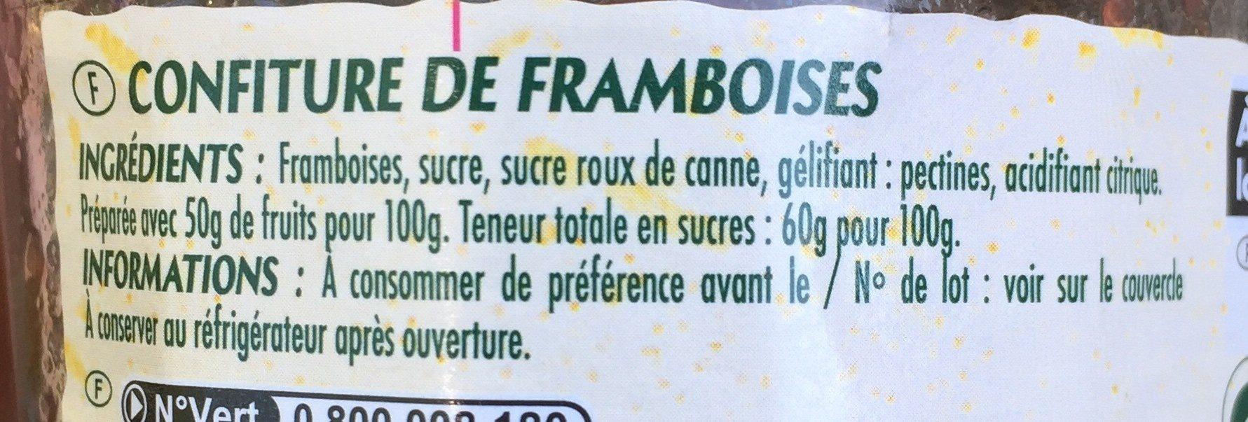 Confiture de framboises Elodie - Ingrediënten - fr