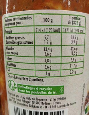 Ravioli au bœuf Bio - Voedingswaarden - fr
