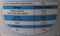Mayonnaise allégée -60% mg - Nutrition facts - fr