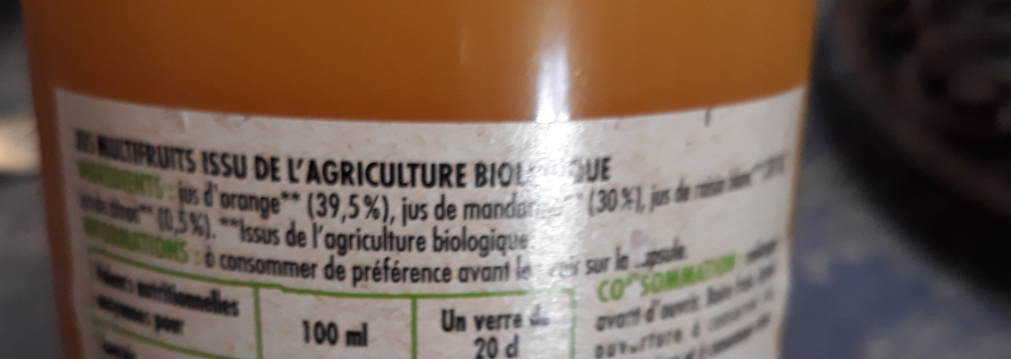 100 % pur jus d'orange mandarine - Ingredients