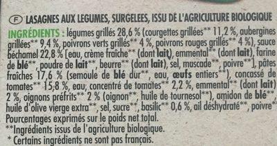 Bio lasagnes aux légumes - Ingredients - fr