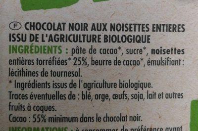 Chocolat noir aux noisettes - Ingredients