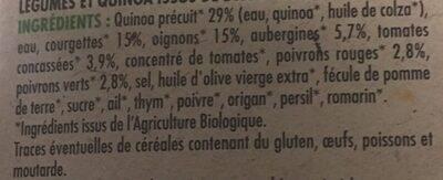 Assiette végétarienne de légumes au quinoa - Ingrédients - fr