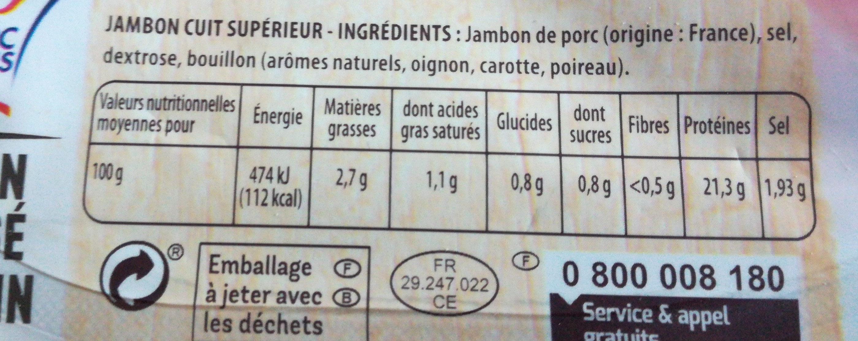 Jambon Le Tradition sans nitrite - Nutrition facts - fr