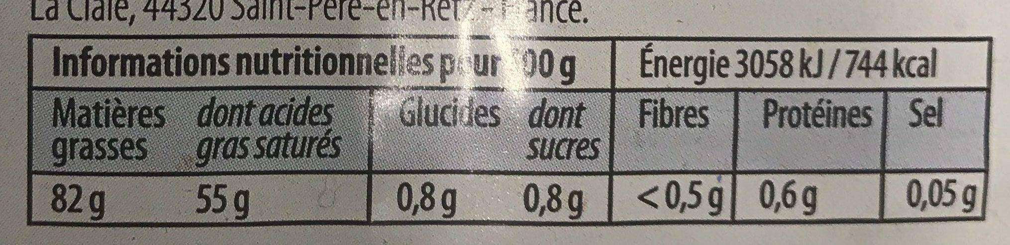 Beurre moulé - Nutrition facts - fr