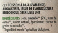 Boisson amande intense bio - Ingrédients - fr