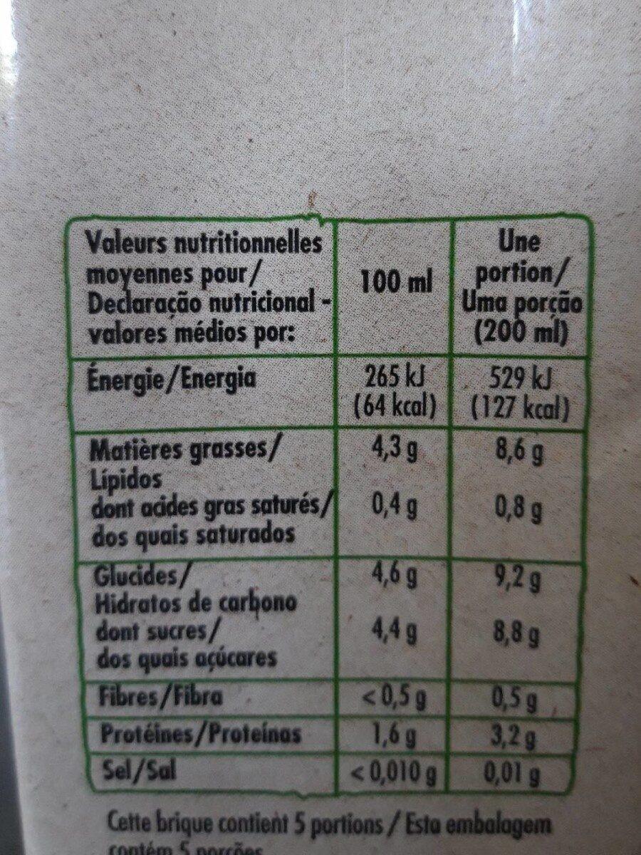 Boisson amande intense bio - Informations nutritionnelles - fr