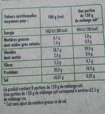 Mélange de céréales à cuire - Informations nutritionnelles