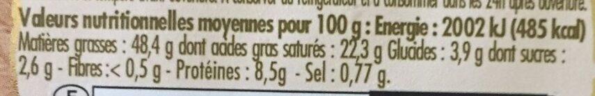 Foie gras de canard entier du sud-ouest au sauternes - Nutrition facts - fr