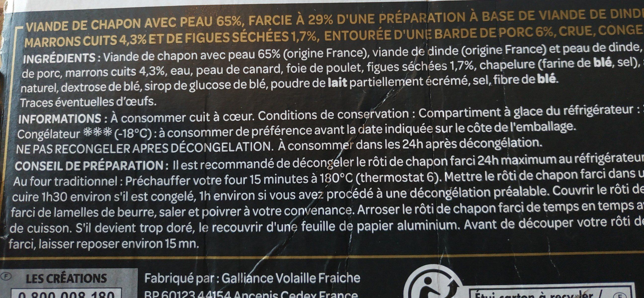 Rôti de chapon - Farce aux marrons et aux figues - congelé - Le Délicat - 800 g - Ingrédients - fr