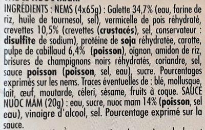 4 Nems Crevette - Cabillaud - Ingredients