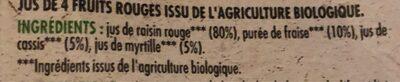 Producteurs & Commerçants BIO 100% Pur Jus de Fruits Rouges - Ingredients