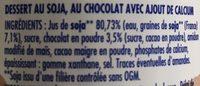 Soja Chocolat Dessert Végétal - Ingrédients - fr