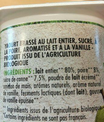 Yaourt brassé poire vanille BIO - Ingrédients - fr