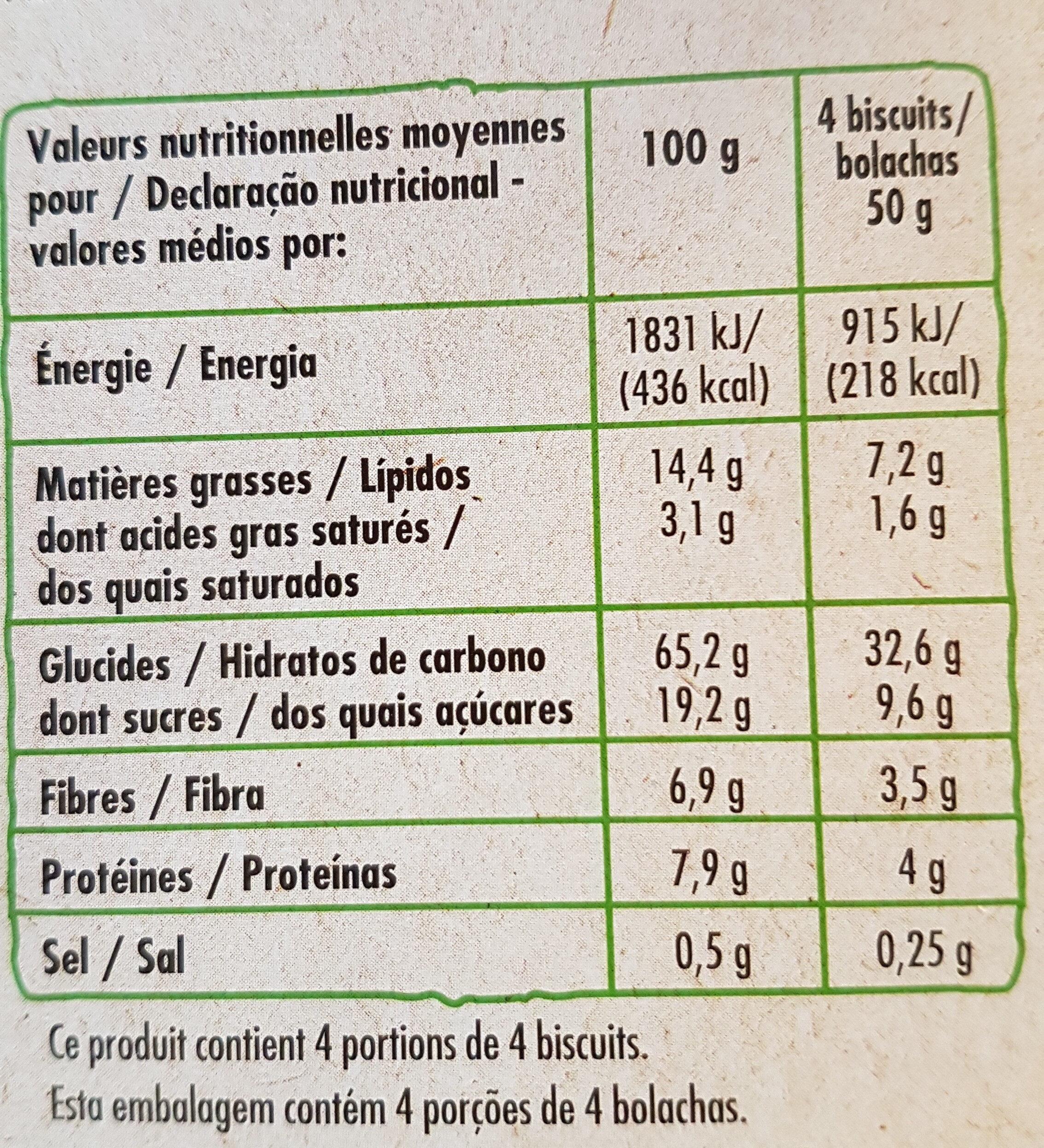Biscuits petit déjeuner miel et chia - Nutrition facts