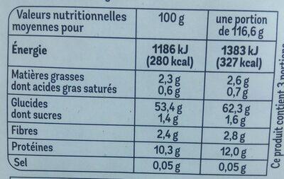 Fettuccini aux œufs frais - Nutrition facts