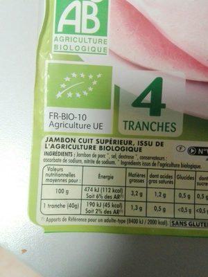 Jambon superieur sans couenne - Ingrédients