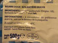 Beurre moulé doux - Ingredients - fr
