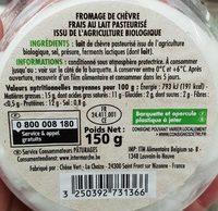 Petit chèvre frais Bio - Ingrédients - fr
