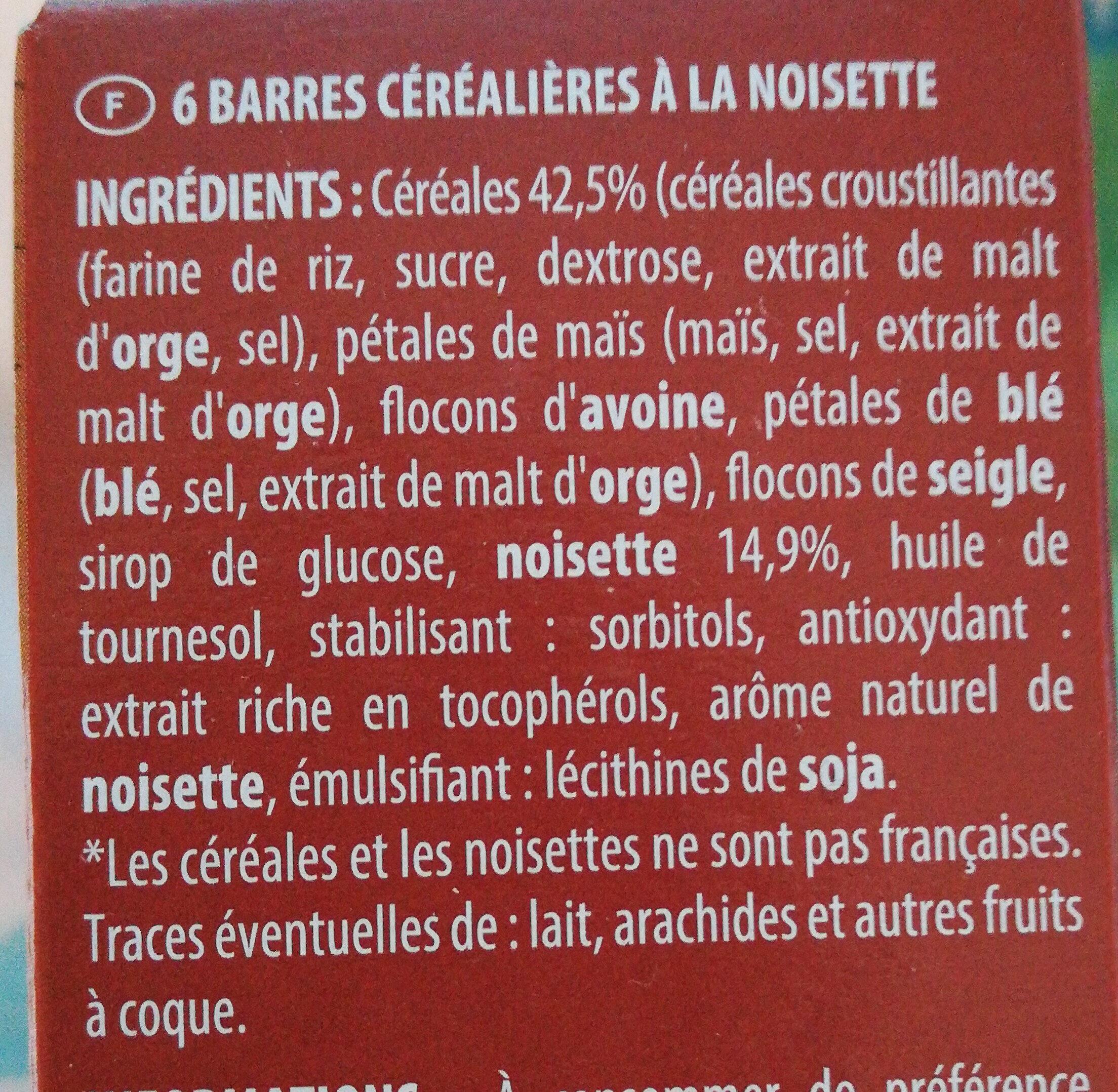Barres céréales - Składniki - fr