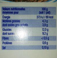 Brassés au lait de coco fraise framboise - Informations nutritionnelles - fr