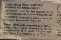 Beurre demi-sel bio - Ingrédients - fr