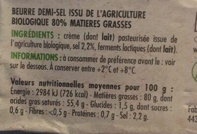 Beurre demi-sel bio - Informations nutritionnelles - fr