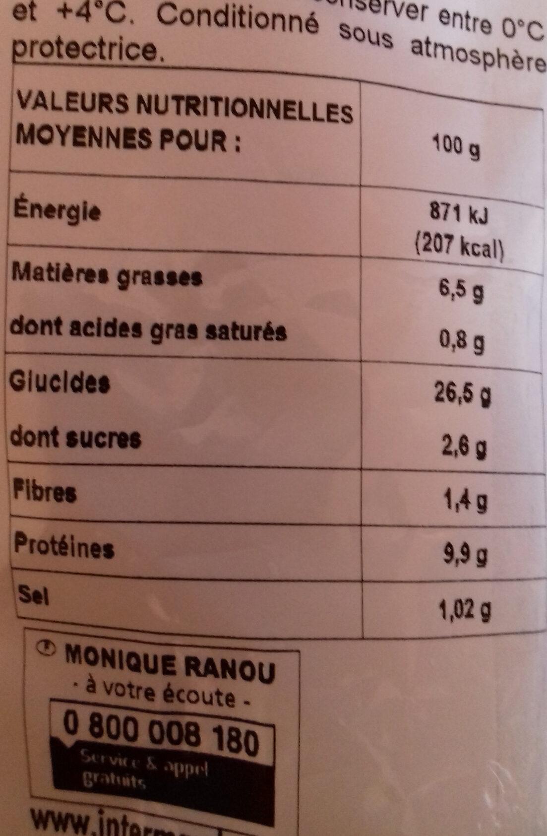 Sandwich poulet rôti oeuf pain nature  Monique Ranou - Informations nutritionnelles - fr