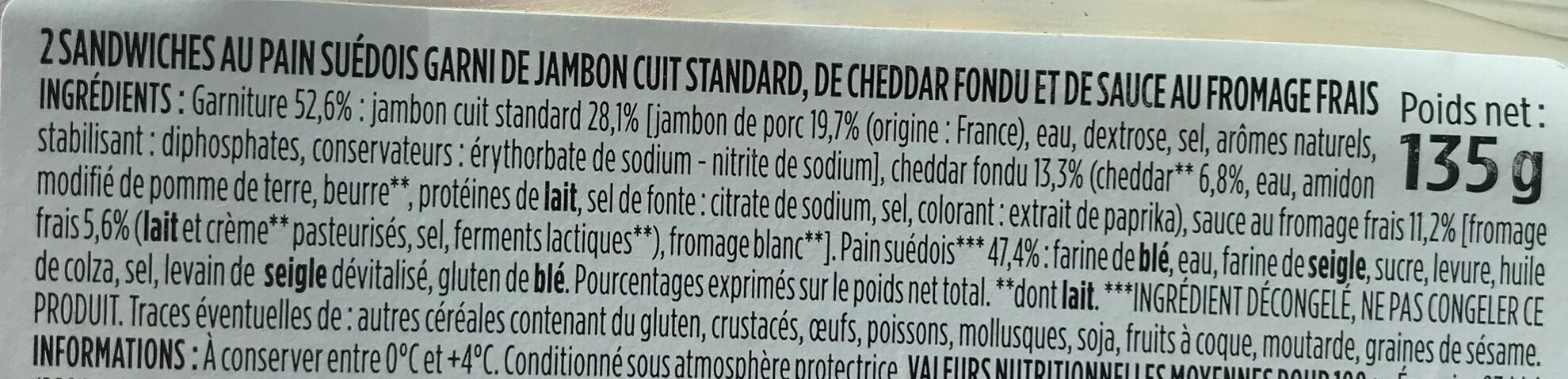 Sandwich jambon cheddar fondu pain suedois - Ingredients