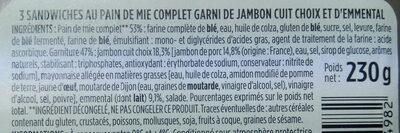 Sandwich jambon emmental - Ingrédients